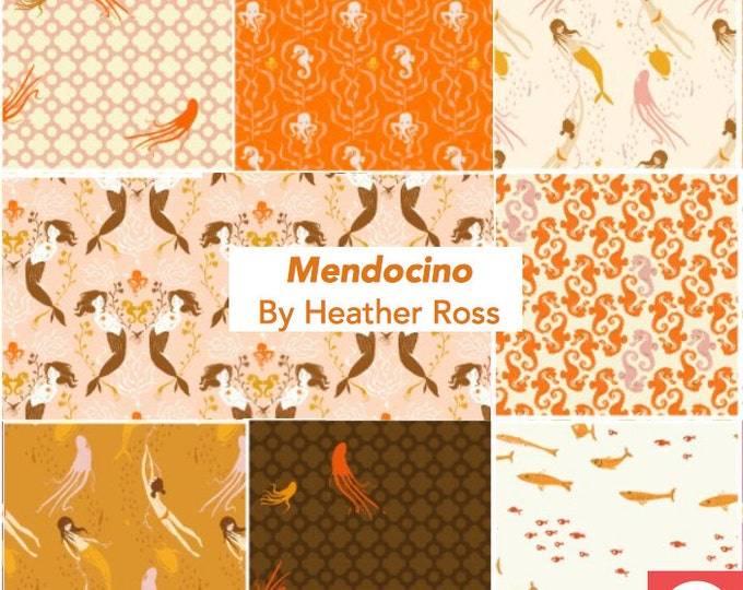 Mendocino Heather Ross Wyndham Fabrics, Fat quarter 8-pc set - Blush/Orange Palette cotton quilting fabric bundle
