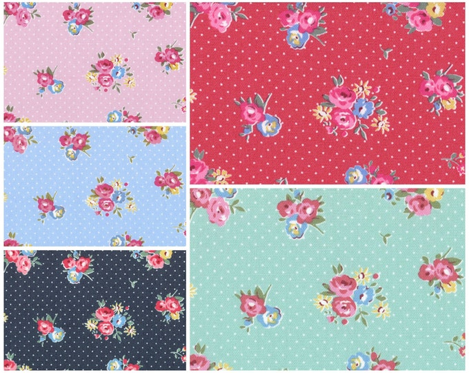 Light canvas Oxford - Maison Flower Sugar Fabric by Lecien - Dotty Floral, 1/2 yard of your choice