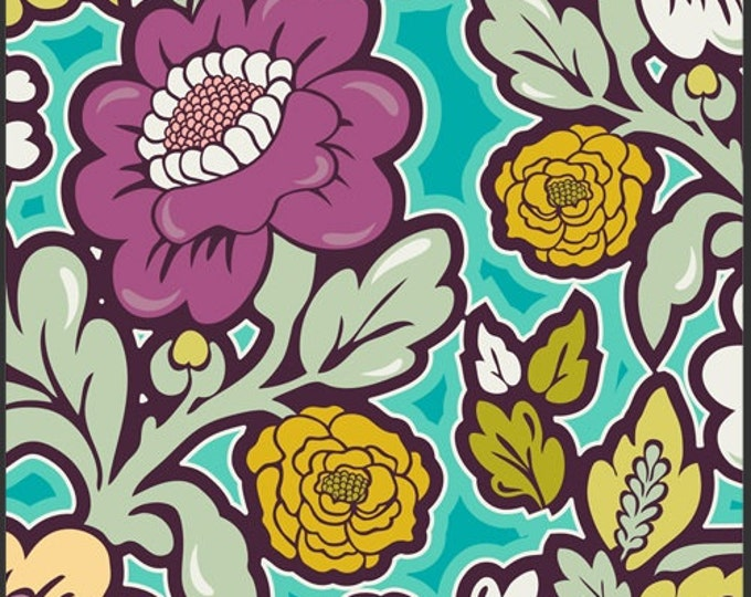 Art Gallery fabric, Bespoken - Floral Silhouettes BE6100 Fresh blue