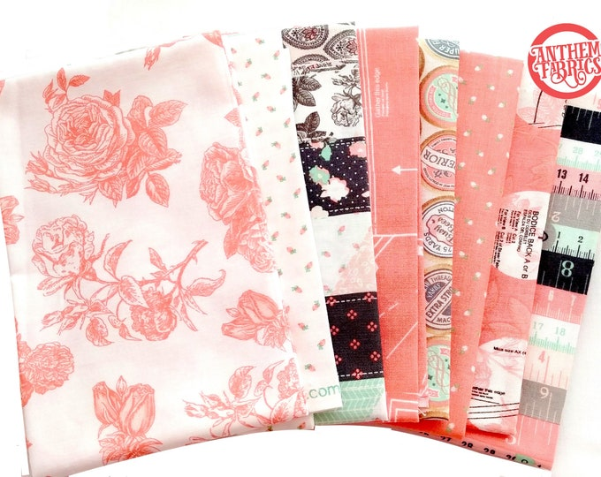 Sew Charming by Bo Bunny for Riley Blake Fat Quarter Bundle set 8 in Coral cotton fabric