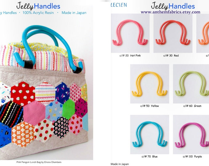 Lecien Jelly Handles and pattern - resin acrylic handles and purse bag pattern, one pair - choose a color