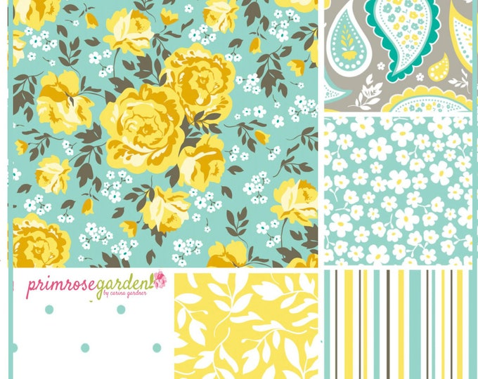 Primrose Garden by Carina Gardner - Cotton Fabric Bundle in Green, 6 fat quarters