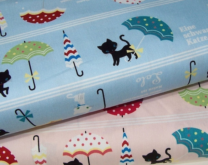 Cotton canvas fabric - Lolo Black Cat by Kokka Japan - stripes, umbrellas, cats