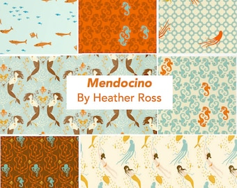 Mendocino Heather Ross Windham Fabrics, 7-piece Fat quarter set in Blue/Brown Palette - cotton quilting fabric bundle