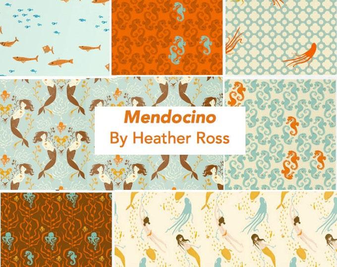 Mendocino Heather Ross Windham Fabrics, 7-piece Fat quarter set in Blue/Brown Palette - cotton quilting fabric bundle