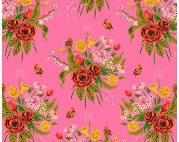 Sleeping Porch by Heather Ross, COTTON LAWN fabric - Bouquet Roses Wild Flowers HR42205-1  Pink, 33.5 inches remnant cut