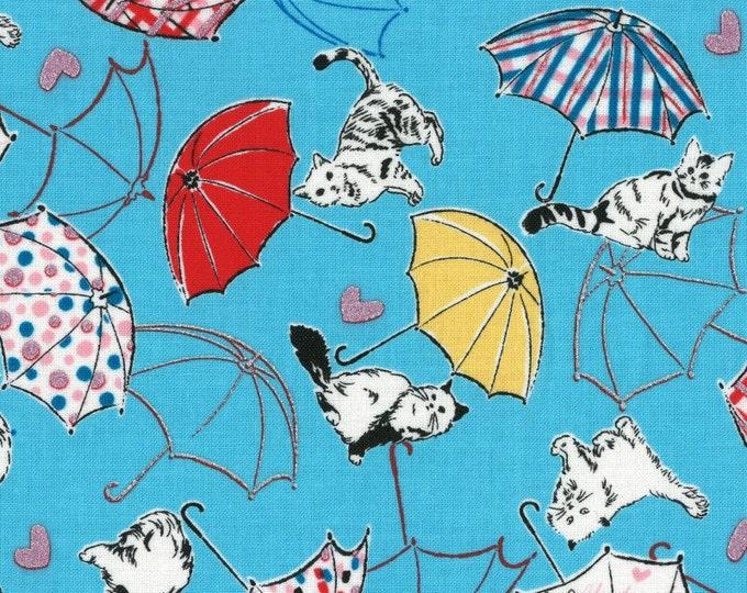 Radiant Girl Fabric by Lecien - Kitty Umbrella L49180-70 Blue