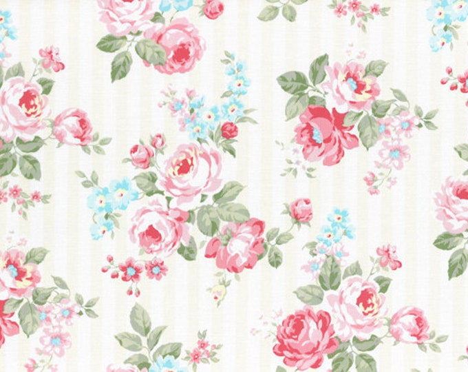 Princess Rose White Cream Stripes and Roses L31264-10, Cotton Fabric by Lecien