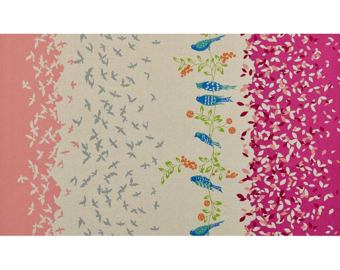 ECHINO STANDARD Border Cotton Linen fabric Bird Song by Etsuko Furuya EF100_10A Pink Berry - select a length