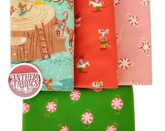 FLANNEL - mice, peppermint  Sugar Plum fabric - Heather Ross -  yard fabric bundle