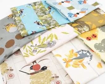 Birch Fabrics Charley Harper Lakehouse , Organic cotton - 8 Fat Quarters