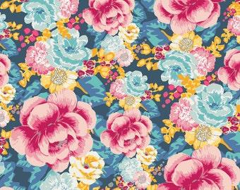 1 yard, Art Gallery fabric- Floressence - Acqua di Rose FS2020 Bleu