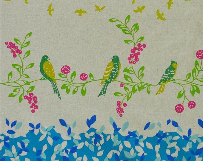 ECHINO STANDARD Border Cotton Linen fabric Bird Song by Etsuko Furuya EF100_10B Blue - select a length