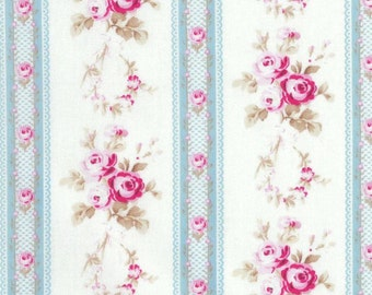 Tanya Whelan - Petals - Antique Ticking Roses TW56 Blue, select length