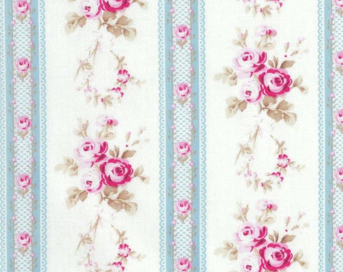 Tanya Whelan - Petals - 1.25 yard Antique Ticking Stripe Roses TW56 Blue, 45 inches end of bolt