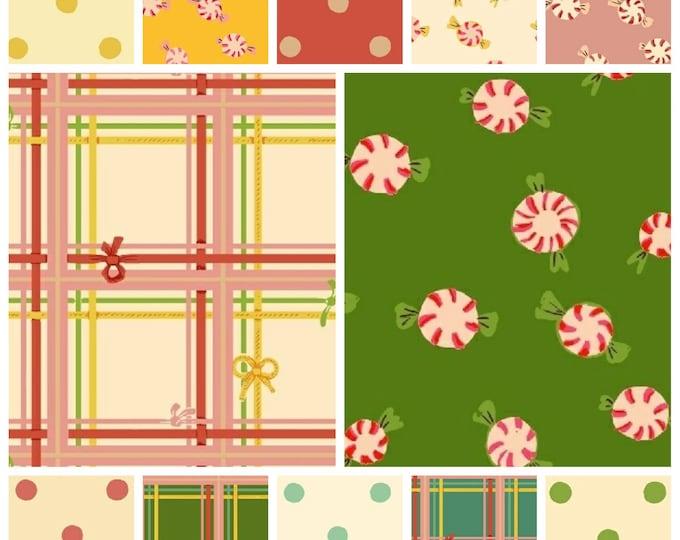Heather Ross Sugar Plum Christmas Dots Plaid Peppermint Dots - quilting cotton fabric bundle - 12 fat quarters