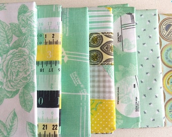 Sew Charming Mint green - 7 pieces bundle set- 1/2 yard each, by Bo Bunny for Riley Blake quilting cotton fabric