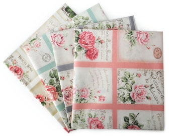 Quilt Gate Rose Bouquet Shabby Chic - RURU Rose cotton fabric Postcard QG2220, 23-inch Fabric panel select a color