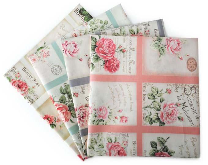Quilt Gate Rose Bouquet Shabby Chic - RURU Rose for You cotton fabric Postcard QG2220, 23-inch Fabric panel select a color