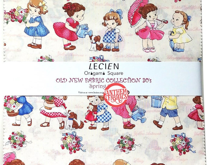 Lecien 10 x 10 inch Origami Pack layer cake fabric squares - Retro Old New 30's SP16 - Japanese cotton Origami set 42 pieces