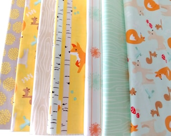 Good Natured Foxes by Marin Sutton for Riley Blake cotton quilting apparel fabric, half yard cuts, bundle of 7 in mint orange gray