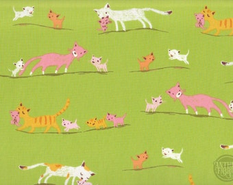 Tiger Lily by Heather Ross - Cat Family 40931-2 Green, Windham Fabrics, 23.5 inches - end of bolt