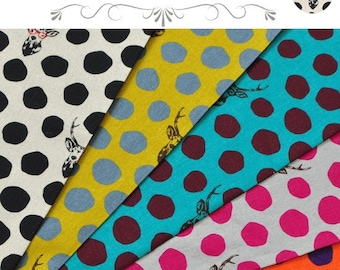 ECHINO  Buck Dots EF604, 5 fat quarters - cotton linen fabric bundle set - Etsuko Furuya 10th anniversary