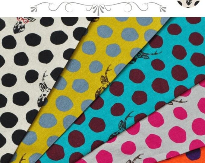 ECHINO  Buck Dots Sambar, 5 fat quarters - cotton linen fabric bundle set - Etsuko Furuya
