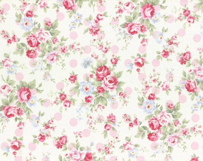 Princess Rose Fabric by Lecien - Roses & Polka Dots L31265-20 Pink