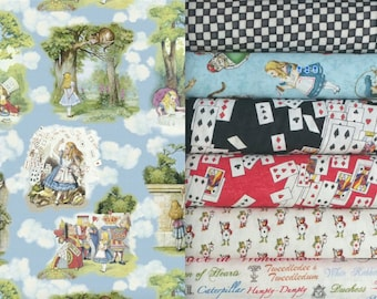 Alice Adventures in Wonderland by Windham cotton quilting fabric - 6 fat quarters + 28-inch remnant panel