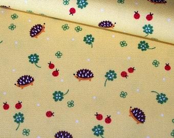Hedgehogs, Ladybugs and Four Leaf Clovers (22023C) Canvas Fabric by Kokka - half yard