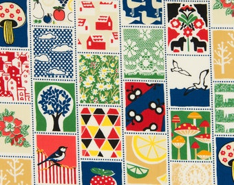 Fabric Patch Mushrom Stamp QG1906-11D Red Blue -Mushroom World Tic Tac by Quilt Gate - select length