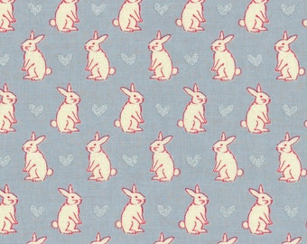 Radiant Girl Fabric by Lecien - Bunny L49181-90 Blue-Grey