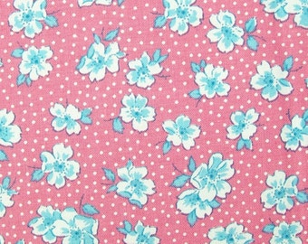 1930's  vintage inspired quilting cotton fabric - Wood Rose TT5717 Pink - Sweet Pea by Karen Snyder for Timeless Treasures - select length