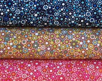 Alexander Henry - Camden Dot small floral cotton fabric bundle -  fat quarter set of 3 pieces or half yard cut of your choice
