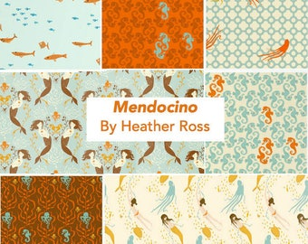Mendocino Heather Ross Windham Fabrics, Fat quarter of your choice - Blue/Brown Palette cotton quilting fabric