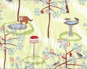 Cotton Fabric Frolic by Wendy Slotboom - Raccoon Bird Yard Scene IB3WSA1 Blue Flowers