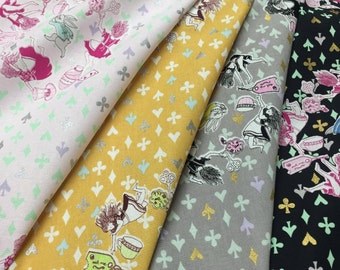 Alice in Wonderland - 4 Fat Quarters - Down the Rabbit Hole K50920 - Cotton fabric bundle - KOKKA JAPAN