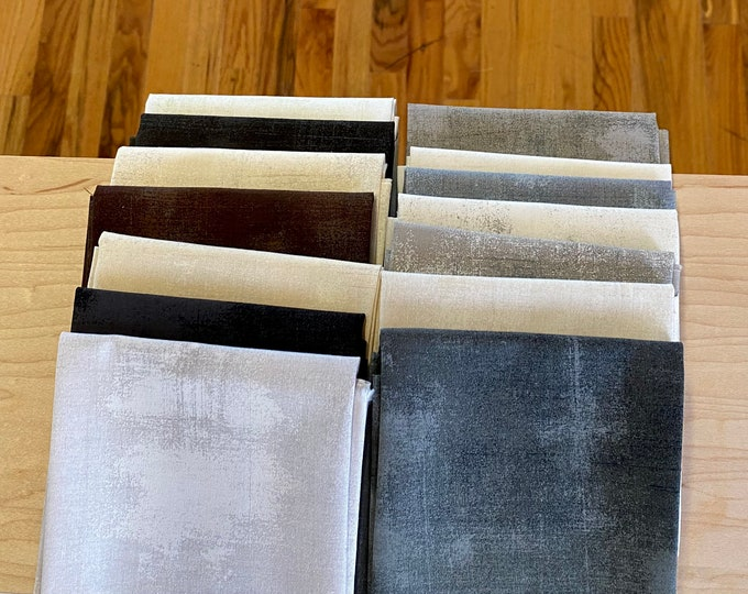 Moda Basics Grunge -  Beige, cream, white, gray, black, brown fabric bundle - 15 fat quarters