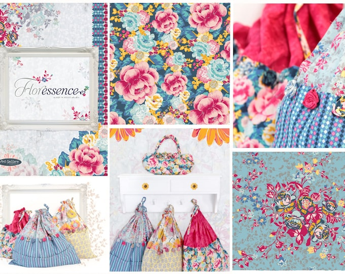 SALE Floressence - fabric by the yard - Patricia Bravo Art Gallery Fabric
