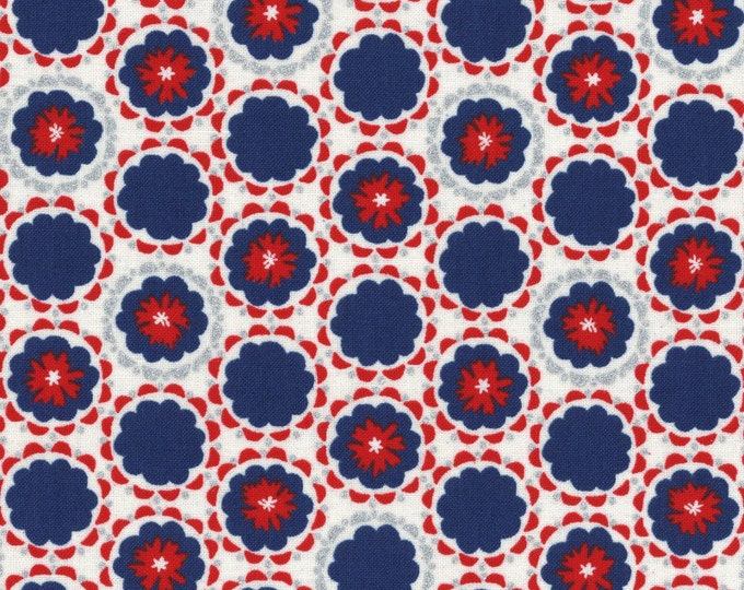 Radiant Girl Fabric by Lecien - Flowers L49182-71 Navy/Red
