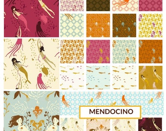 Mendocino by Heather Ross, 23 fat quarters - quilting cotton fabric bundle - fish, mermaid, octopus, seahorses, kelp