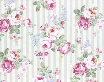 Princess Rose Fabric by Lecien - Stripes and Roses L31264-90 Gray Lavender