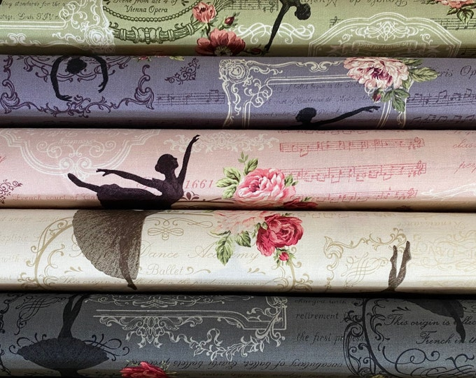 Quilt Gate Rose Prima ballet cotton fabric - Ballerina R2260-13, 1 Yard, choose color.