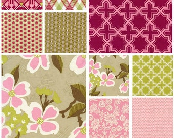 Joel Dewberry Modern Meadow cotton fabric -  First Bloom Pink Berry palette - fat quarter set of 9