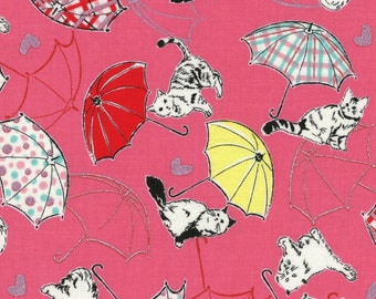 Radiant Girl Fabric by Lecien - Kitty Umbrella L49180-21 Pink