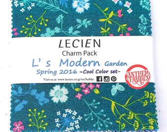 "Charm Pack Garden L's Modern LECIEN SP16 Cool set - Blue, green, brown - 42 cotton fabric 5"" x 5"" squares"