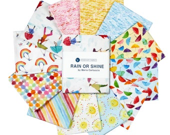 Rain or Shine fabric bundle, 12 fat quarters - cotton quilting - by Maria Caluccio for Windham Fabric
