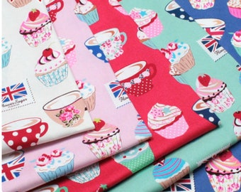 Oxford cotton canvas - Flower Sugar Maison - English Tea Cupcakes L40565 fabric Lecien Japan - 1/2 yard of your choice