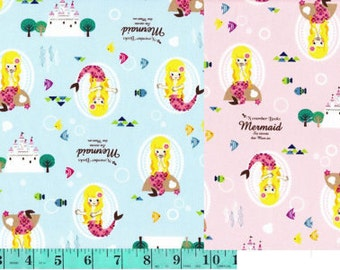 Mermaid K601 Blue or Pink - Kokka Japan Fabric November Books